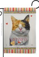 Dilute Calico Happiness Garden Flag