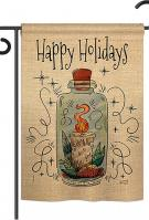 Sparkle Happy Holidays Double Burlap Garden Flag