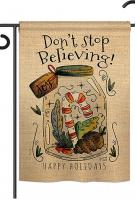 Don't Stop Believing Double Burlap Garden Flag