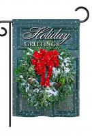 Holiday Greeting Wreath Garden Flag