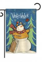 Winter Wishes Snowman Garden Flag