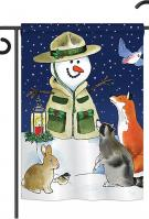 Lodge Snowmen Garden Flag