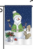 Decorating with Snowmen Garden Flag