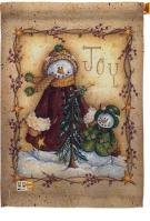 Christmas Joy Snowman Decorative House Flag