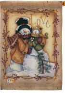 Christmas Love Snowman House Flag