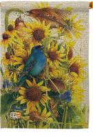 Spring Sunflower & Birds House Flag