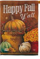 Happy Fall Y\'ll Pumpkins House Flag