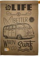 Life Is Better When You Surf Kombi Bus House Flag