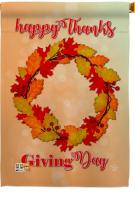 Thanksgiving Day Wreath House Flag
