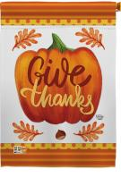 Pumpkin Give Thanks House Flag