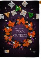 Trick Or Treat Wreath House Flag