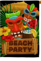 Tiki Beach Party House Flag