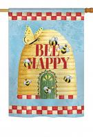 Bee Happy Hive House Flag