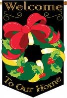 Christmas Wreath Applique House Flag