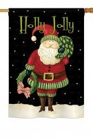 Holly Jolly Santa Decorative House Flag