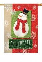 Celebrate The Season Snowman House Flag