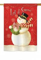 Scarf Snowman Let It Snow House Flag