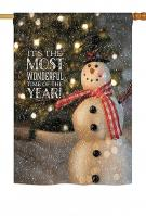 Most Wonderful Time Snowman House Flag