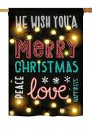 Lightful Merry Christmas Love House Flag