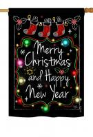 Chalkboard Merry Christmas House Flag