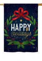 Happy Holidays Wreath House Flag