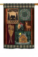 Winter Lakeview Cabins House Flag