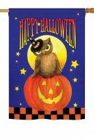Owl Sitting On Jack-O-Lantern House Flag