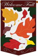 Welcome Fall Leaves Applique House Flag