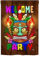 Welcome Tiki Party House Flag