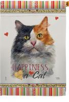 Long Hair Dilute Calico Happiness House Flag