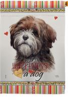 Brown Tibetan Terrier Happiness House Flag