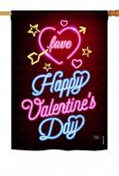 Neon Valentines Love House Flag