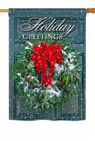 Holiday Greeting Wreath House Flag