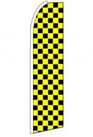 Black Yellow Checkers Feather Flag 3\' x 11.5\'