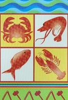 Seafood Lobster and Crab Feast Garden Flag - 3 left