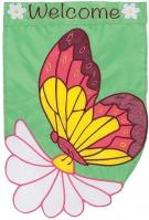 Daisy Butterfly Single Applique House Flag