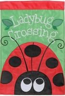 Ladybug Crossing Double Applique House Flag