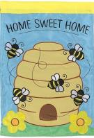 Home Sweet Beehive Double Applique House Flag