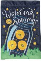 Summer Fireflies Double Applique House Flag
