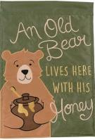 Old Bear Double Applique Garden Flag