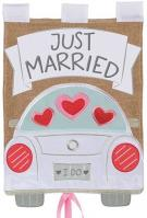 Just Married Burlap Applique Garden Flag