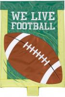 We Live Football Double Applique Garden Flag