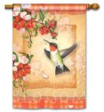 Hummingbird Plaid Garden Flag
